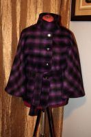 Purple Plaid Cape for Fall by BenaeQuee