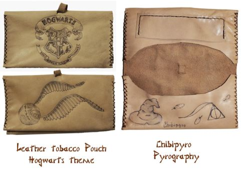 Leather Tobacco Pouch Hogwarts by ChibiPyro