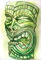 tiki watercolor sketch 2 by rawjawbone