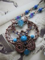 Wire wrapped copper necklace by Lirimaer86