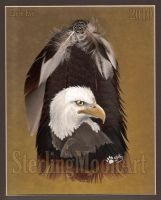 Eagle Eye - Feather Painting by Atashka