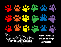 Paw Prints Photoshop Brushes by Neko-CosmicKitty