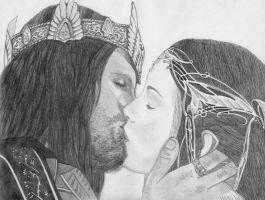Arwen and Aragorn by vardawendy