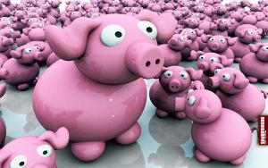 Pink Pigs Wallpaper by TutosGaGa