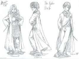The Golden Trio drawing. by athenadeniise