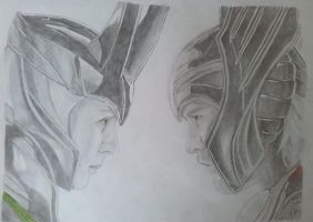 Thor and Loki by ElizabetaGreenleaf
