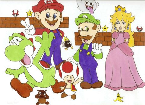 Mario Bros and friends. by felyaneNkastyelle