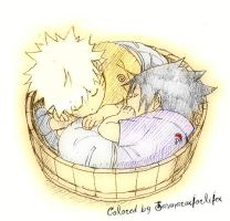 Sasuke and Naruto sleeping by Sasunaruxforlifex