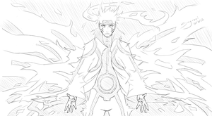 Comm. Sketch: NaruNeji -- Naruto Tailed Beast Mode by Sing-sei