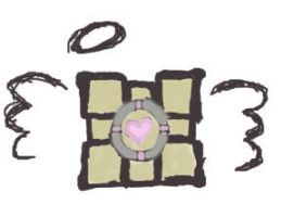 companion cube loves you. by earlysunsets-xo