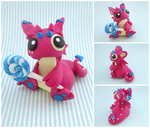 Raspberry and Blue Lollipop Dragon by KriannaCrafts