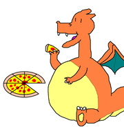 Dragozard eats pizza by lainthedragonite149