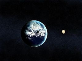 Planet and Moon by Amoeba-like-thingy