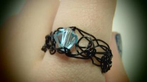 Black Wire Crocheted Ring with Blue Crystal by kkdr92