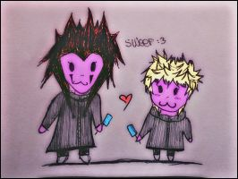 Axel and Roxas Chibi :3 by Sweepzebrine