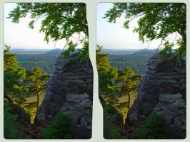 Elbe Sandstone Mountains III ::: HDR 3D Cross Eye by zour