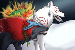 Okami wolves by Chibiangle