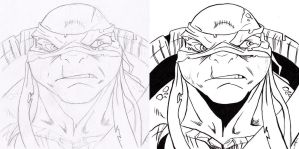 TMNT Raphael - Drawing and Inking by The-Sketch-Fox