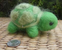 Tiny the needle felted turtle by Throughawolfseyes