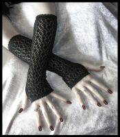 Black Circle Lace Arm Warmers by ZenAndCoffee
