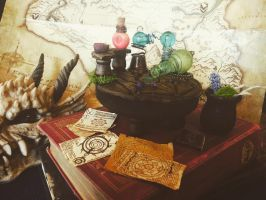 Skyrim Alchemy Table and Accessories  by Ristay