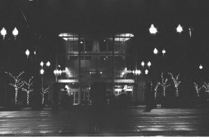library, night, bnw film by acollins973