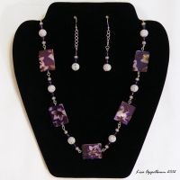 Purple and White Tropical Necklace and Earrings by Cillana