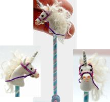 UNICORN STICK PONY HORSE by WEE-OOAK-MINIATURES