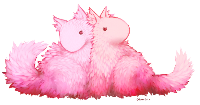 Fluffy Pink Dogs by Essuom