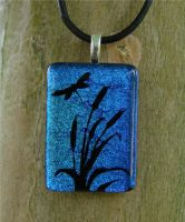 Dragonfly and Cattails Glass by FusedElegance