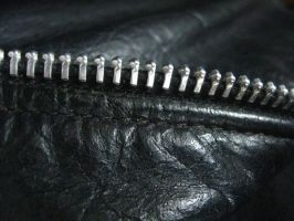 real leather and zipper by Joseph-Sweet-Stock