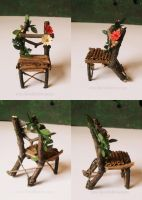Fairy Chair with red and yellow Flowers by RevelloDrive1630