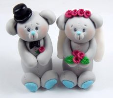 Gray Teddy Bears Cake Topper by HeartshapedCreations
