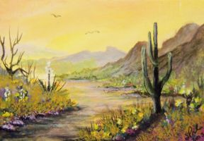 ACEO Desert Sunset by annieoakley64