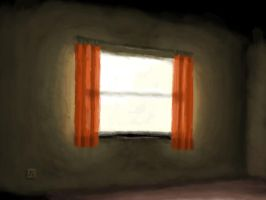Bright Window with Red Curtain by AiTuDou