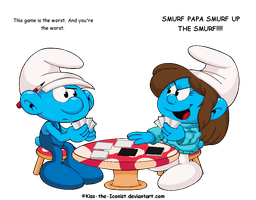 Playing Smurfs Against Smurfanity: Art Trade by Kiss-the-Iconist