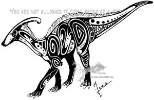 Parasaurolophus tribal by Arixona