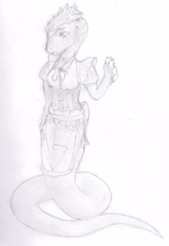 Rana the Lamia in a maid outfit Request by TheMuse4444