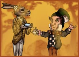 Hatter and Hare Collab by TigreGhrin