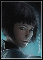 TRON Quorra Sketch Card by RandySiplon