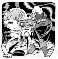 nick's space pinup catty cat by chris-aa