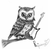 An owl that plays guitar by Rajacenna