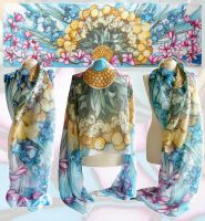 Silk scarf Flowers - For sale by MinkuLul