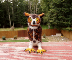 Needle Felted G.H. Owl Soft Sculpture by DancingVulture
