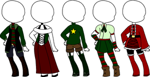 Christmas Outfit Adopts [CLOSED] by spiritsilvermoon