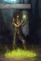 Mage playing with magic by RavenseyeTravisLacey