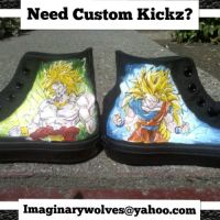 Broly and SSJ3 Goku custom kickz by societymisfit