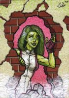 She-hulk -PINK- sketch card by silentsketcher