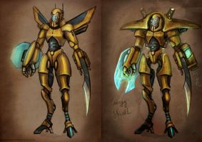 Two yellow robots by FirstKeeper
