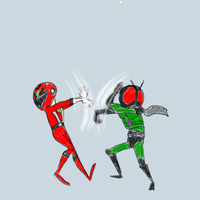 Power Ranger vs Kamen Rider sketch commission by Xaayer
